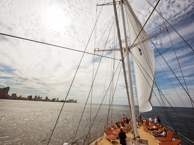 Mast of the M/S Panorama exterior sailing Cuba sail boat ship
