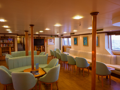 Indoor lounge area M/S panorama II sail cruise luxury yacht relax travel vacation spain portugal