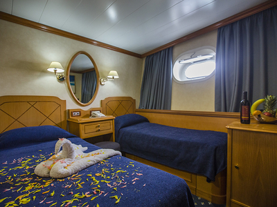 Cabin category B two twin beds M/s panorama II cruise yacht sail spain portugal luxury travel room vacation