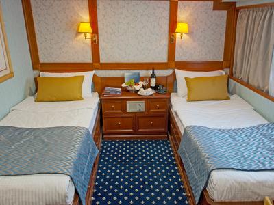 Cabin category A twin beds M/Y Callisto Main Deck Coastal Cuba Cruise ship yacht