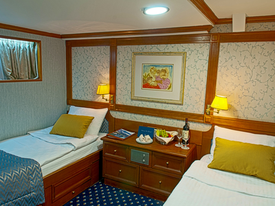 Cabin category B twin beds M/Y Callisto cruise Iceland yacht