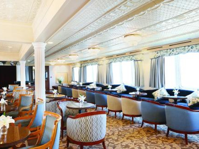 The indoor compass lounge m/v victory I common area yacht cruise vacation Cuba relax luxury