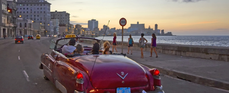 Taxi ride along the Havana Malecon