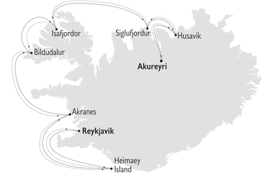 Map of Iceland Europe cruise sail coast