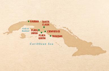 map of classic cuba tour, Havana, Playa Larga, Playa Giron, Trinidad, Cienfuegos