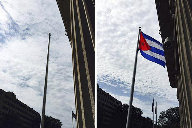 The Cuban flag raised today was taken down in Washington DC In 1961 and was stored in Cuba ever since, until today