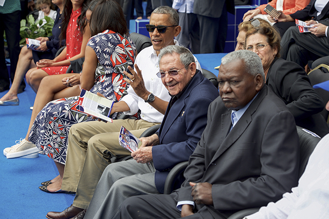 President Obama With Cuban President Castro at Estadio Latinoamericano in Havana, Cuba [State Department photo/ Public Domain]