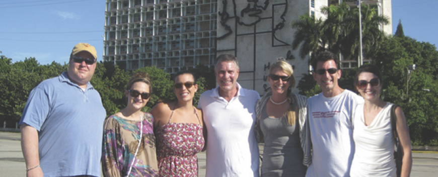 Pictured (left to right) are Scott Mertie, Katie Ballou, Tracey LaFore, William Frist, M.D., Tracy Roberts, Glenn Perdue and Caroline Young at Revolution Square in Havana, Cuba.