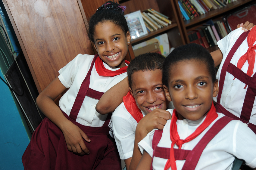 Smiling Cuban School Children