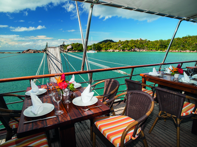 Outdoor dining area m/y pegasus mega yacht cruise dubai seychelles luxury eat drink food restaurant dine