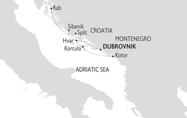 Map of the dalmatian coast montenegro croatia