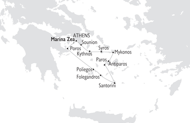 Map of the Cyclades Greek Isles
