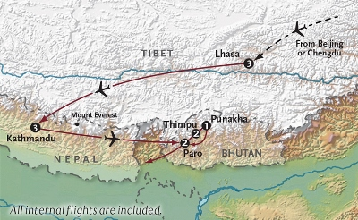 Map of Bhutan_Nepal_Tibet