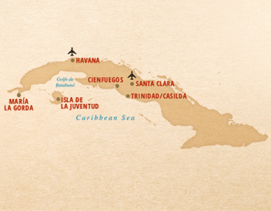 Map of cruise around Cuba on the M/Y Voyager