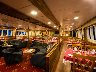 Main dining and lounge area M/S Panorama sail restaurant food drink Cuba sailing boat ship