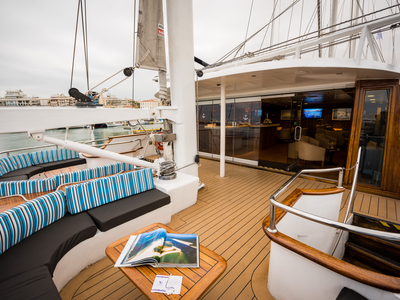 M/S Panorama upper deck indoor/outdoor bar and lounge area vacation cruise sail Dalmatian coast travel