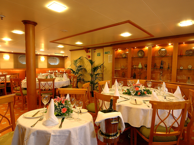 Indoor dining area m/s panorama II restaurant bar drink food eat relax vacation spain portugal travel