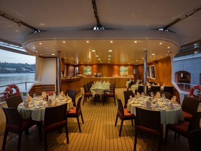 Outdoor dining area on the M/S Panorama II eat drink relax travel vacation sail cruise sailer yacht spain portugal