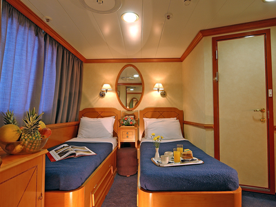 Cabin category A two twin beds M/S Panorama II Cruise sail spain portugal vacation relax room yacht sailer travel