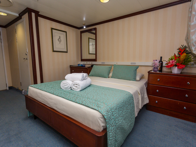 Cabin category A double bed m/y pegasus cruise kenya seychelles luxury mega yacht room