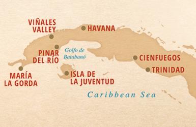 Sail Cuba Map Havana Trinidad Isla de la Juventud Maria la Gorda Pinar De Rio Cienfuegos