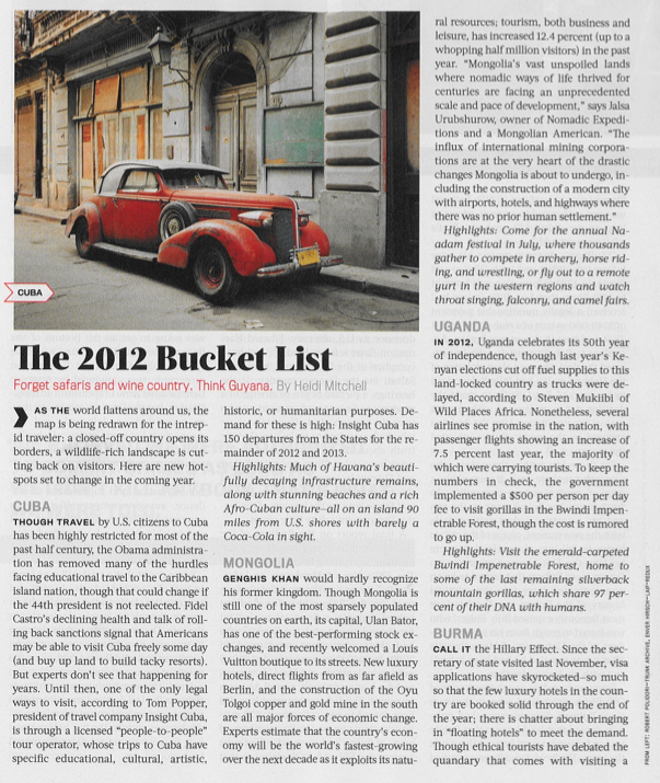InsightCuba is featured in Newsweek's 2012 Travel Bucket List!