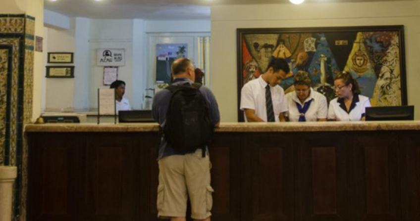 Hotel Inglaterra reception desk havana cuba guests tour travel