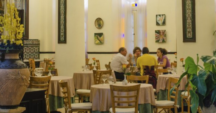 Hotel Ingleterra indoor dining area cafe cafeteria restaurant Havana Cuba