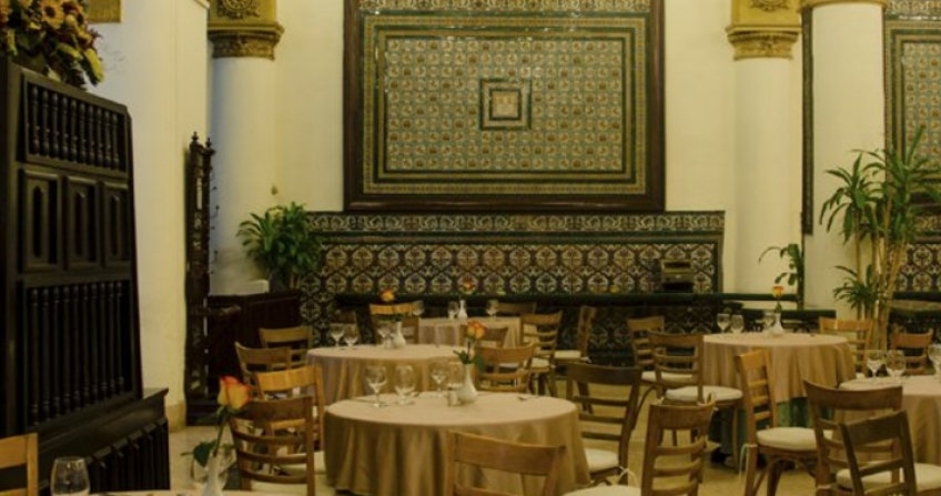 Hotel Ingleterra indoor dining area restaurant Cuba havana cafe