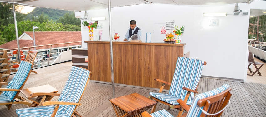Outdoor sun deck and lounge area aboard M/Y Pegasus