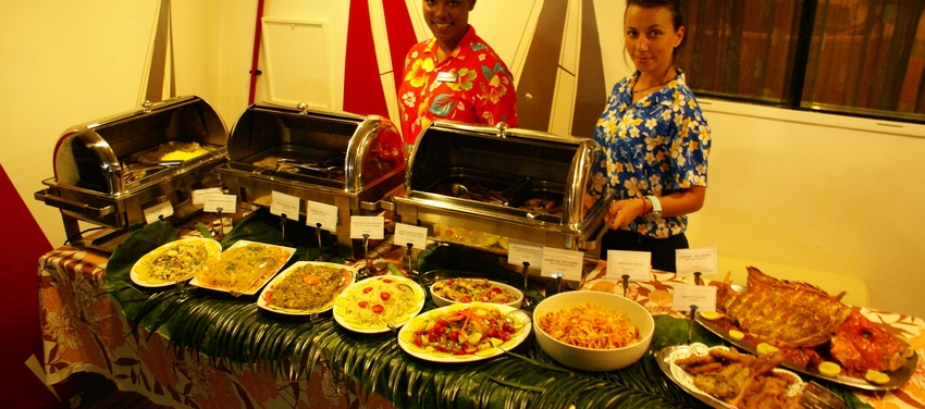 Buffet dining aboard M/Y Pegasus Seychelles africa cruise food