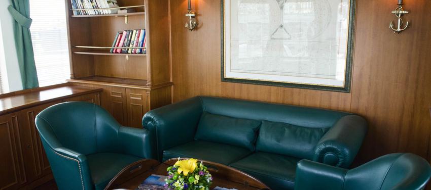 Library aboard the Callisto Mega Yacht Cuba Cruise Vacation