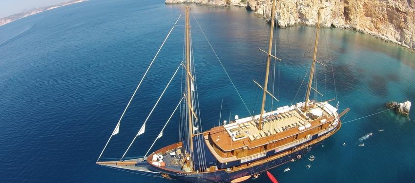 Aerial view of the M/S Galileo sailing coast adriatic sea greece athens