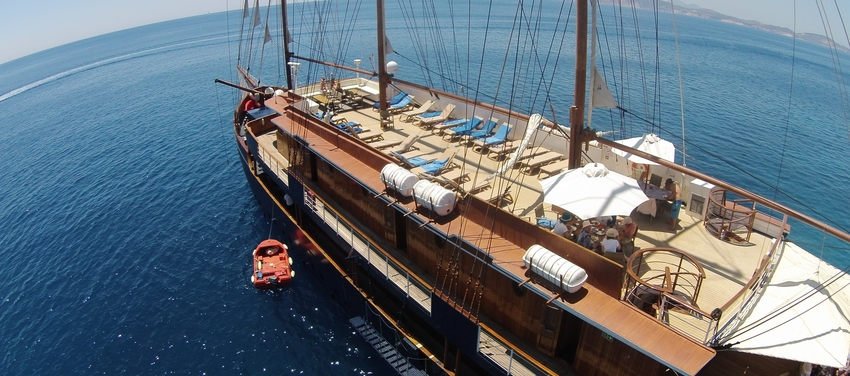 Upper deck of the M/S Galileo boat ship sail travel