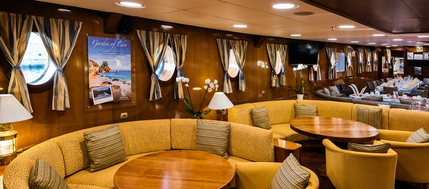 Main deck lounge area relax vacation M/S Galileo sail Greece