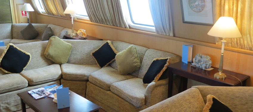Lounge area aboard M/Y Pegasus cruise luxury intimate Seychelles