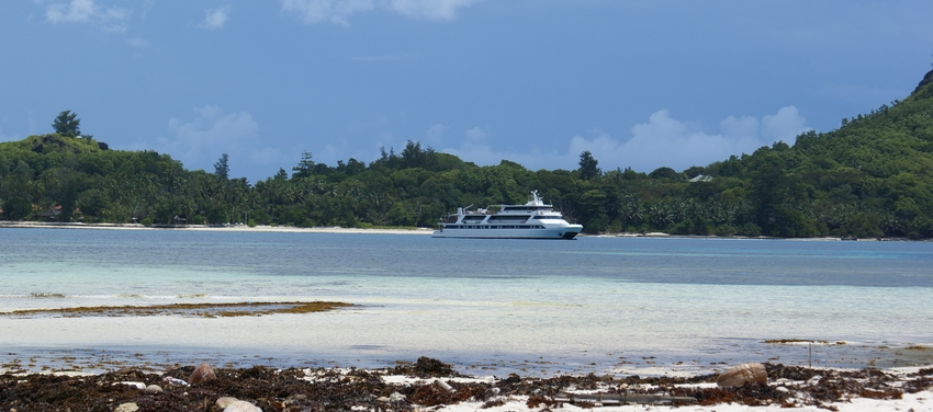 M/Y Pegasus sailing secluded bay Seychelles Africa coast cruise