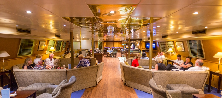 Lounge aboard the M/Y Pegasus
