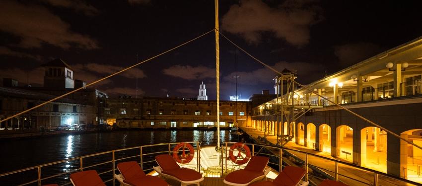 Sun deck at night on M/S Panorama II