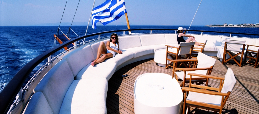 The upper deck of M/S Galileo Greek flag ship sail lounge relax vacation