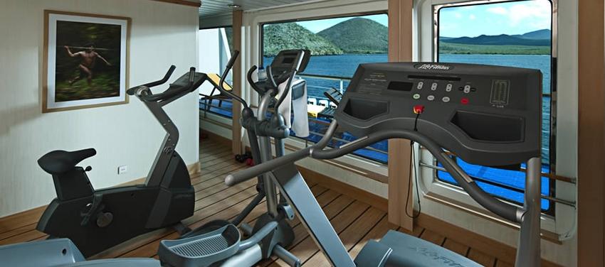 Fitness room workout equipment La Pinta luxury yacht