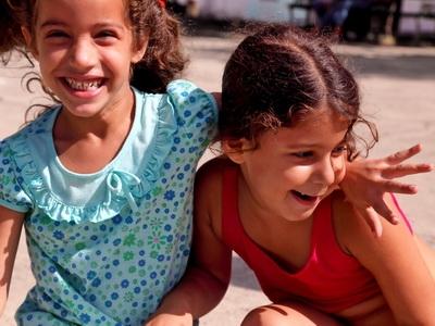 Cuban school girls pose for the camera in Havana, Cuba