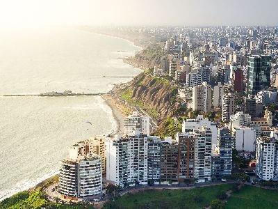 Aerial view of Lima Peru's coastline