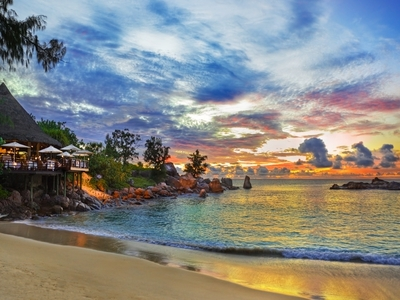 sunset Seychelles water island Africa beautiful nature
