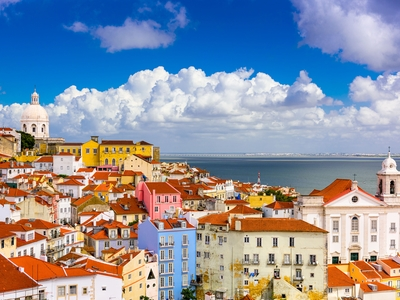 Alfama District, Lisbon Portugal colorful buildings travel vacation