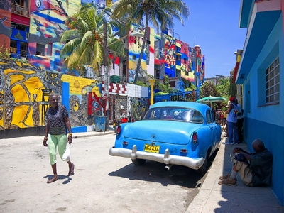 A colorful street seen in Havana, Cuba