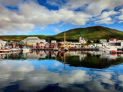 Morning husavik harbor northern iceland nature summer beautiful travel views