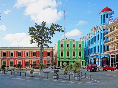 The colorful colonial architecture of Camaguey, Cuba
