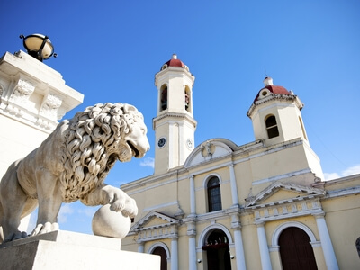 Architecture in Cienfuegos lion building travel Cuba colonial town UNESCO World Heritage Site