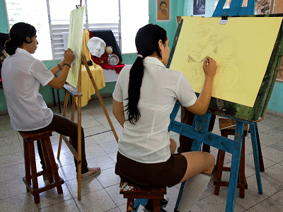 Art Students in Havana Cuba
